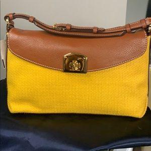 Sergio Rossi Yellow Woven Purse w.Leather trim
